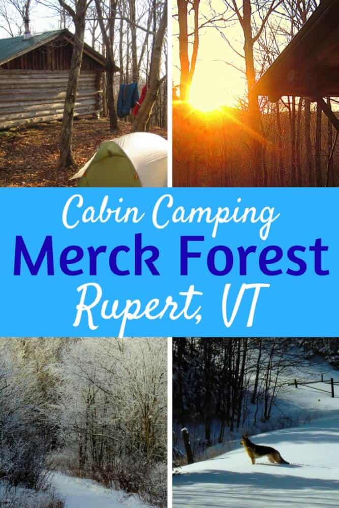 A Pinterest image of Merck Forest cabins. A sunset, tent, snowy trail, and a dog in the snow.