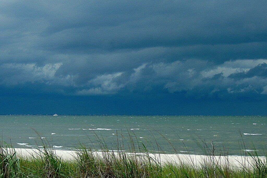 The bay at Cape Henlopen State Park with a storm rolling in.