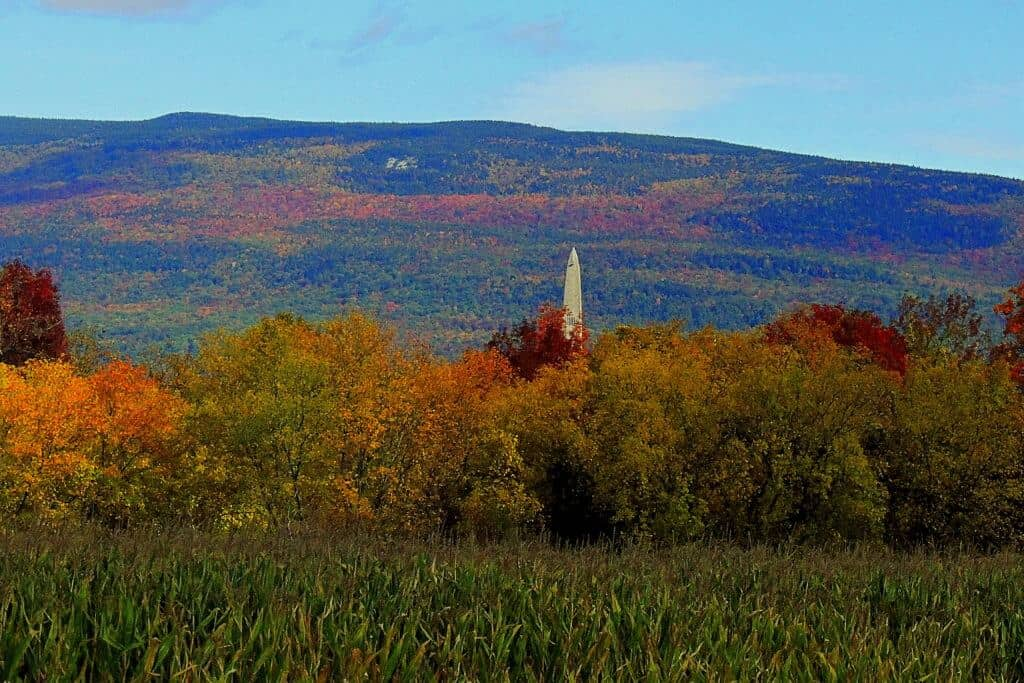 Bennington Battle Monument in Vermont in the fall