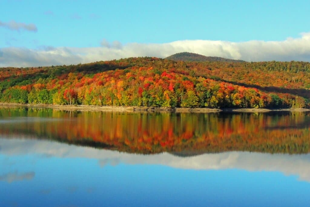 Fall foliage on Lake Whitingham, VT