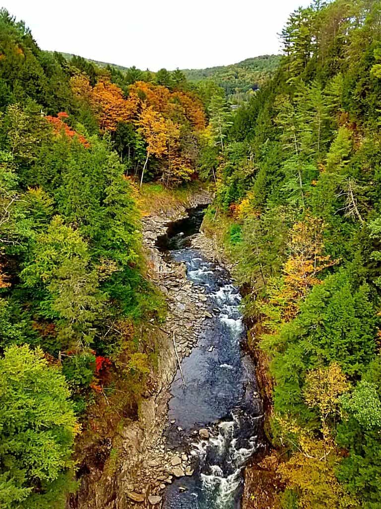 The view of Quechee Gorge from the Route 4 bridge.