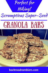 a plate of granola bars. Caption reads: Scrumptious super seed granola bars.