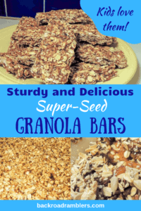 a collage of photos from a granola bar recipe. Caption reads: Sturdy and Delicious Super-Seed Granola Bars