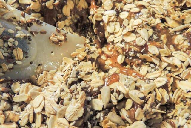 a close up a granola bar ingredients.