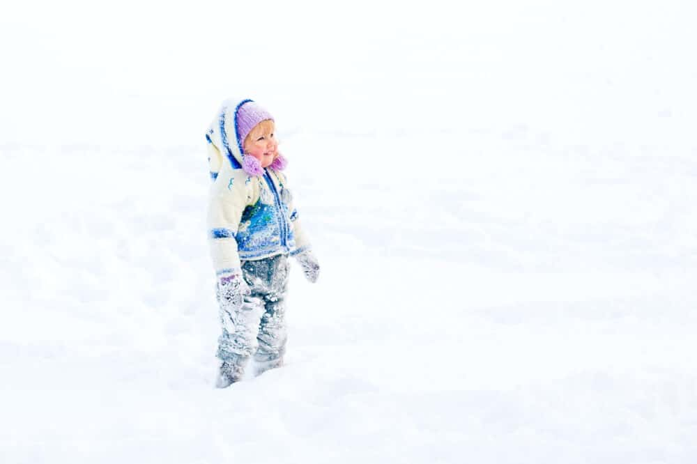 A young girl stands in the snow all bundled up in winter clothing.