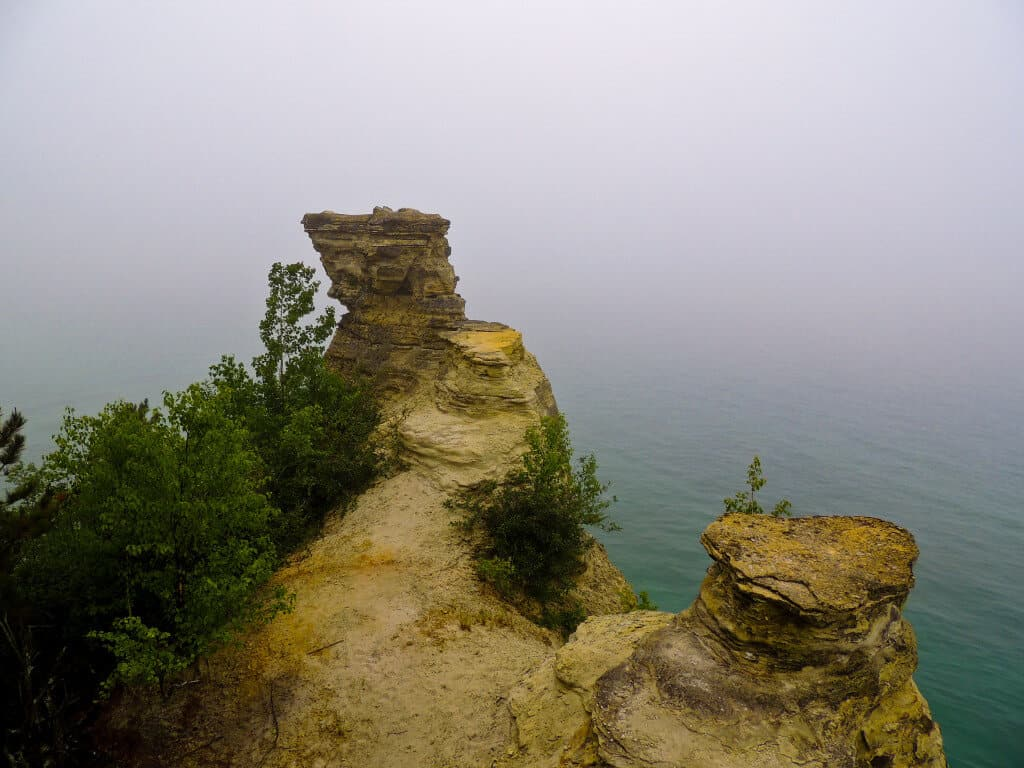 Rock outcroppings on Lake Superior at Pictured Rocks National Lakeshore