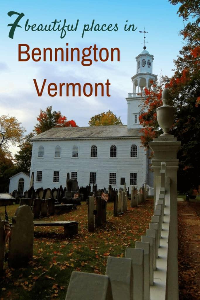 The Old First Church in Bennington, VT during fall foliage season