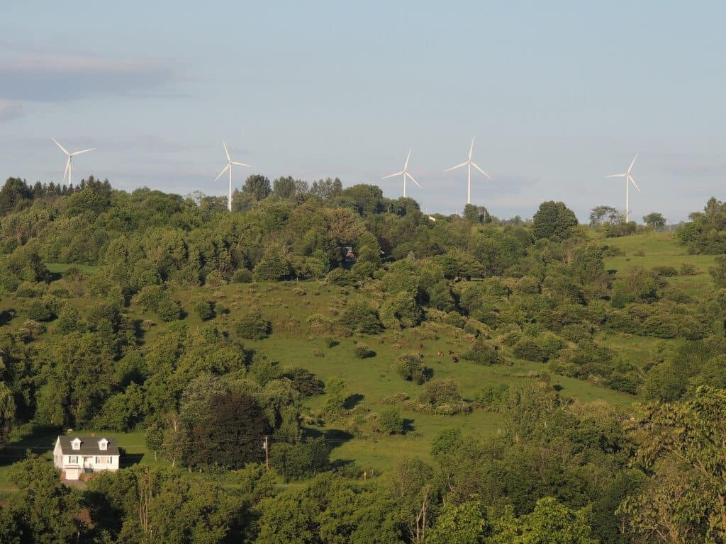 A view of wind turbines from the Ace of Diamonds campground in Herkimer, NY