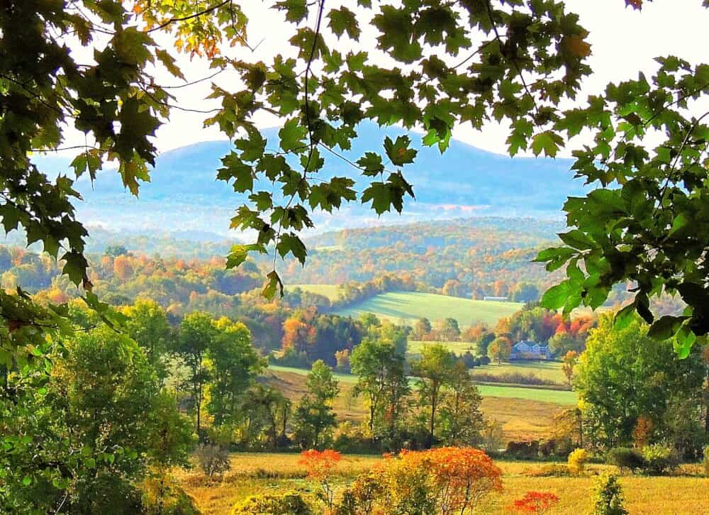 A fall foliage scene featuring farms and fields near North Bennington, Vermont