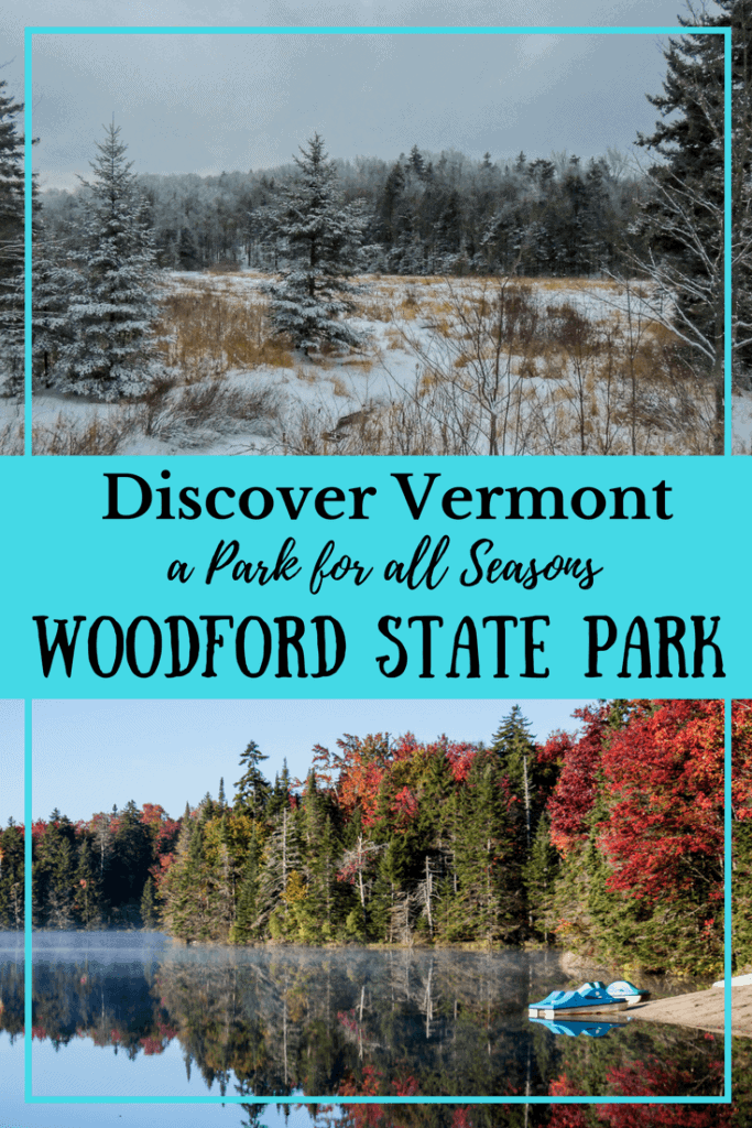 Two scenes of Woodford State Park - one a snowy forest, the other a clear lake with trees of many colors
