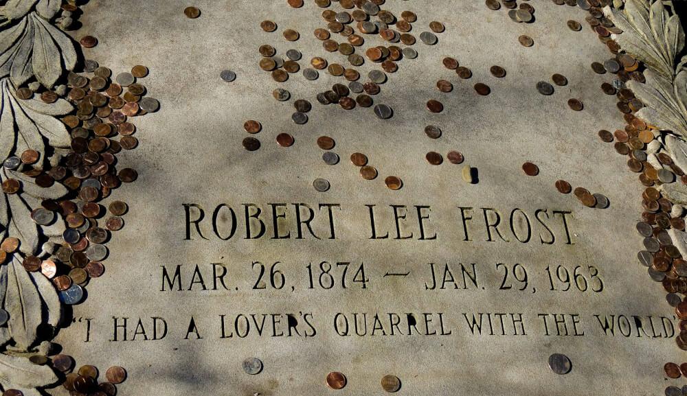 The gravestone of Robert Frost in Bennington VT