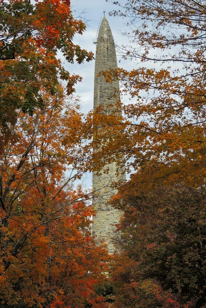 The Bennington Battle Monument surrounded by fall foliage - Bennington Vermont
