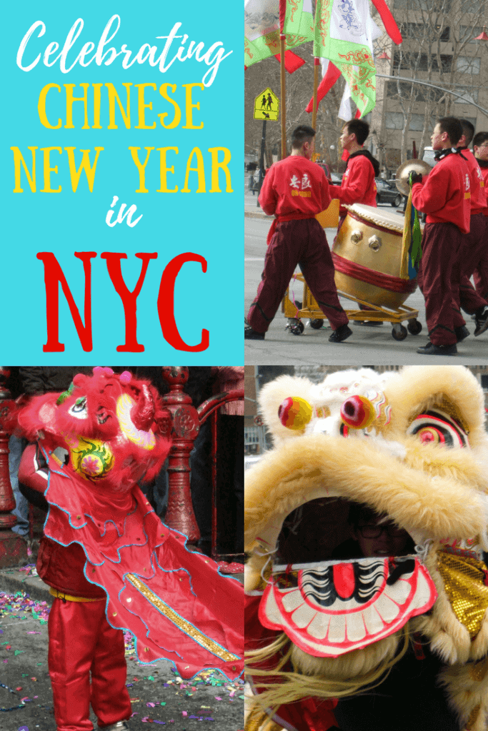A collage of photos from Chinese New Year in Manhattan. Caption reads: Celebrating Chinese New Year in NYC.