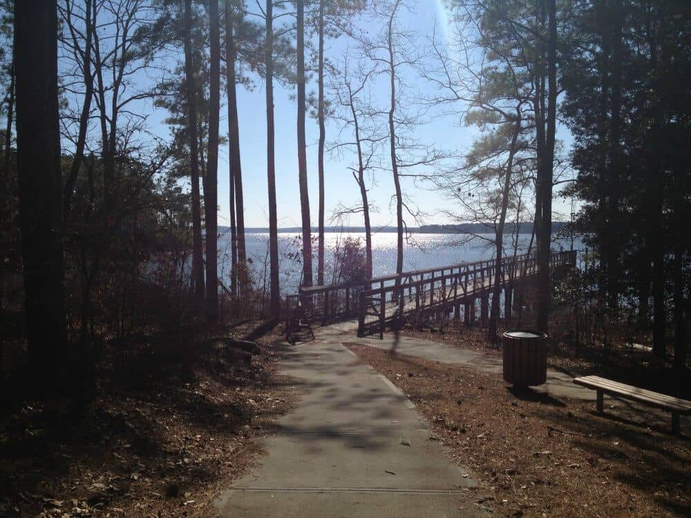 A winter view of Jordan Lake in Raleigh, NC
