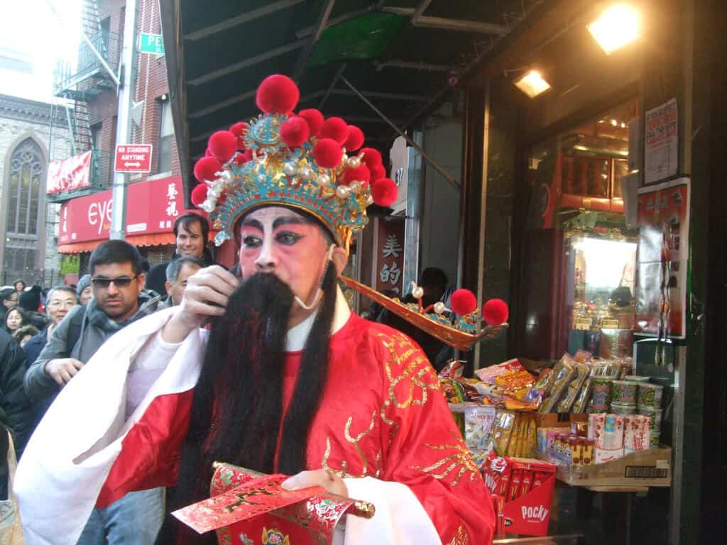 A man in a costume in Chinatown, NYC