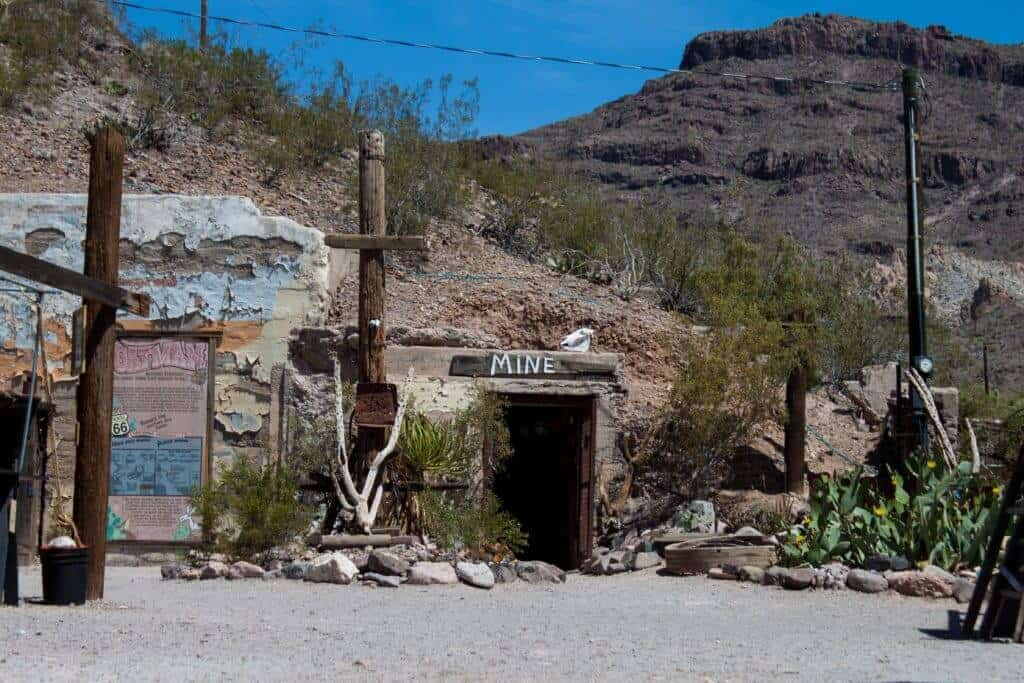 a restored mine for tourists in Oatman, Arizona
