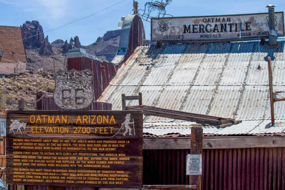 An informational sign in Oatman, Arizona
