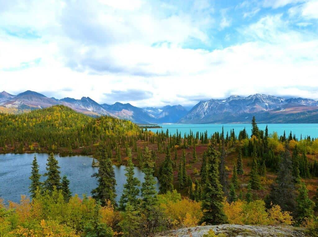 An autumn view of Lake Clark National Park in Alaska.
