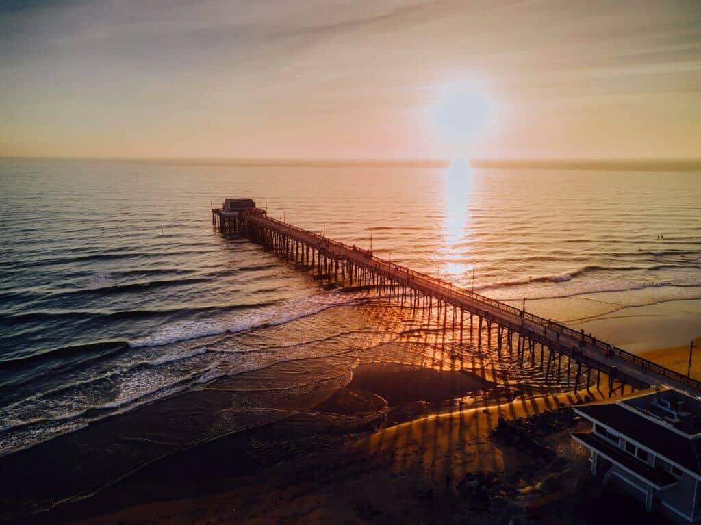 An aerial view of the pier a Newport Beach in California.