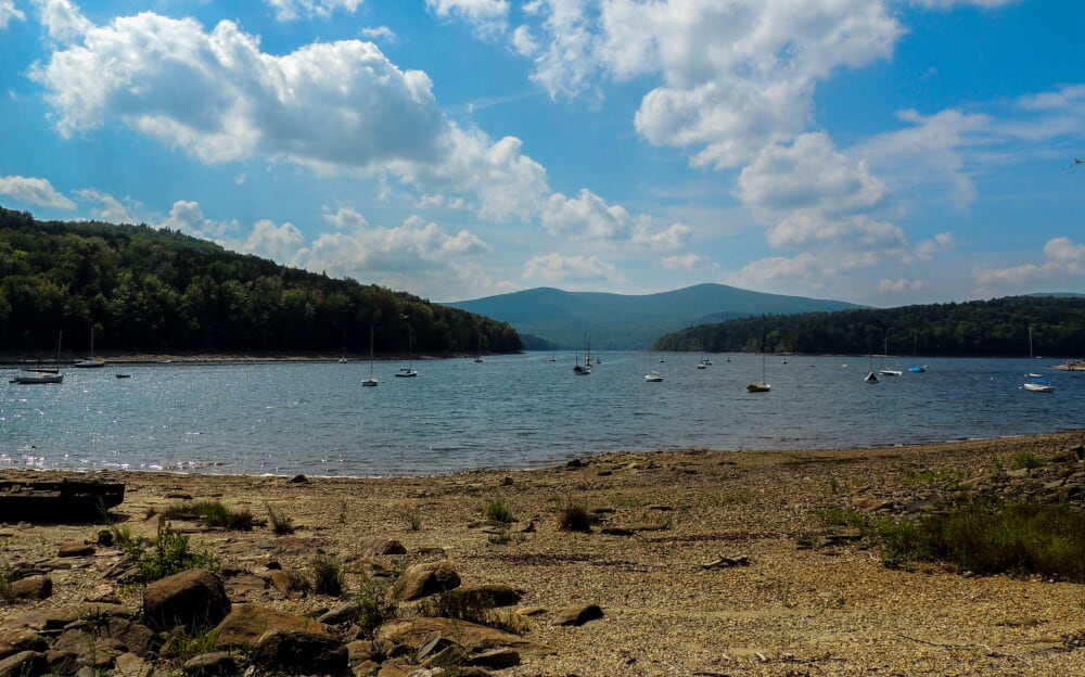 Lake Whitingham in Wilmington, Vermont on a sunny summer day.