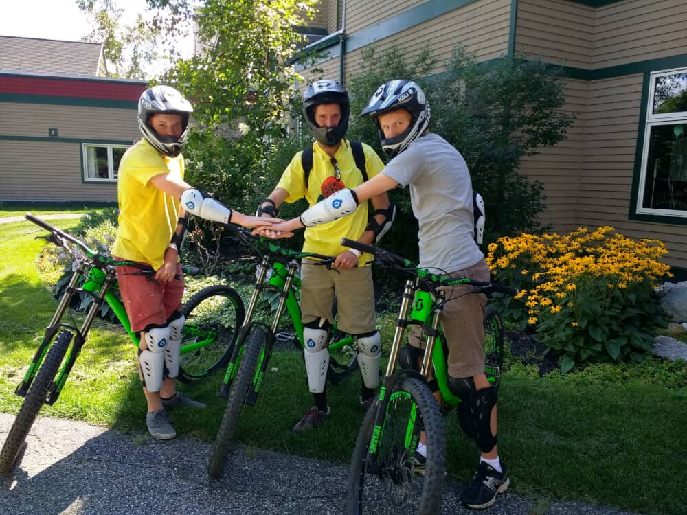 My two boys and husband on their rented mountain bikes getting ready to hit the trails at Mount Snow.