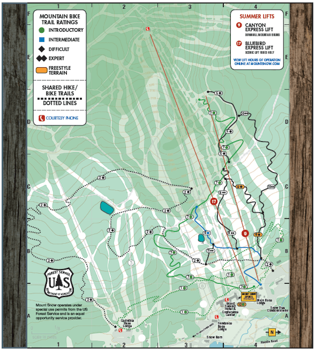 The Mount Snow mountain biking trail map