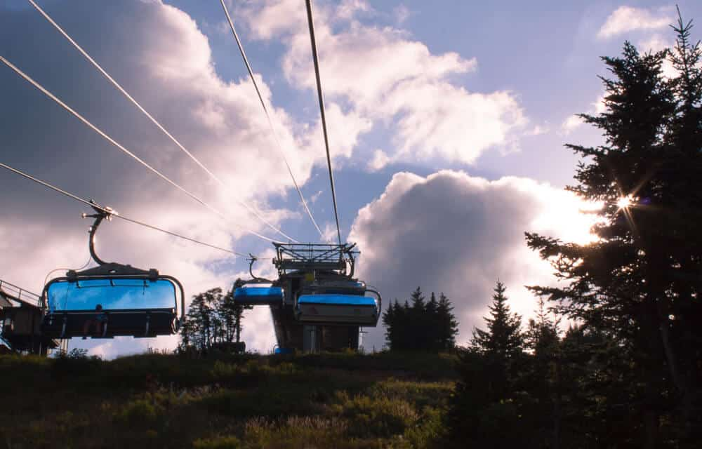 The Bluebird express lift at Mount Snow at dusk