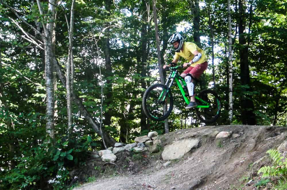 Mountain biking on the trails at Mount Snow.