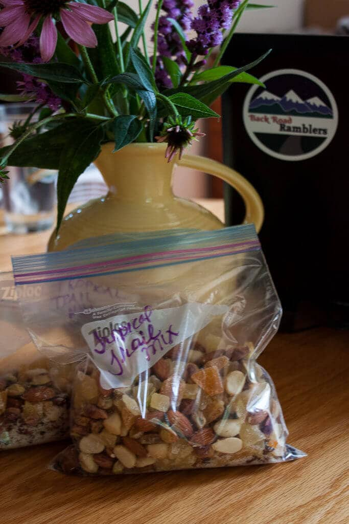 A bag of totally tropical trail mix ready for a road trip.