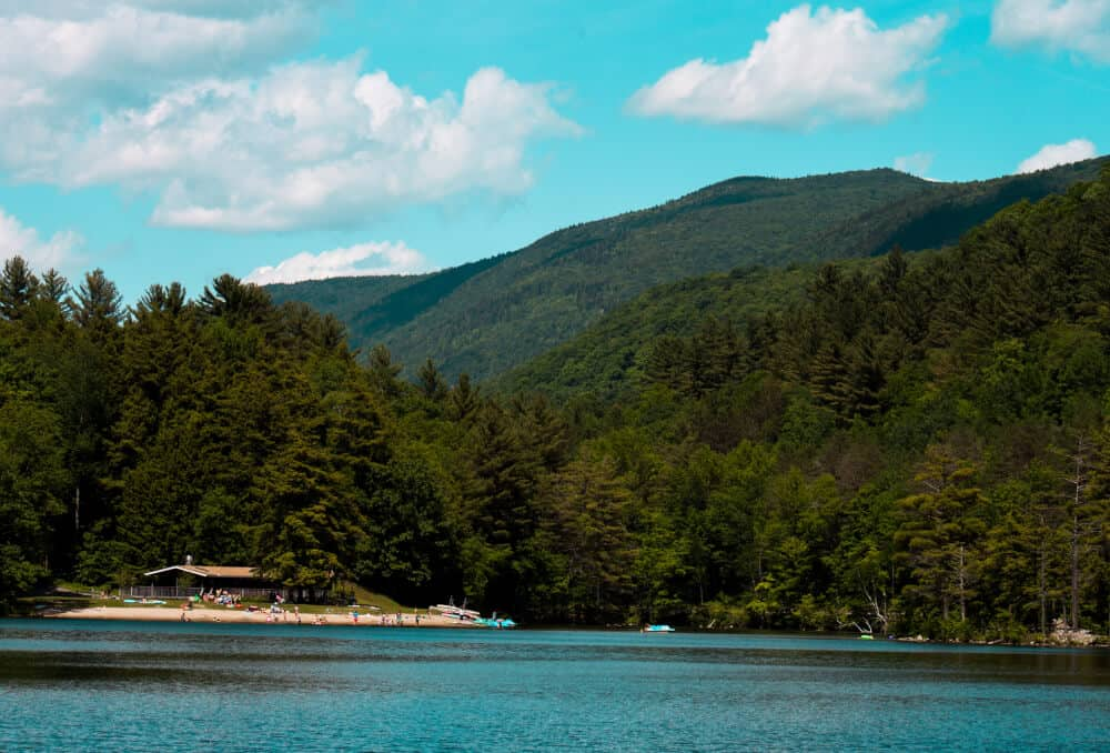 A view of the beach at Emerald Lake State Park in Vermont