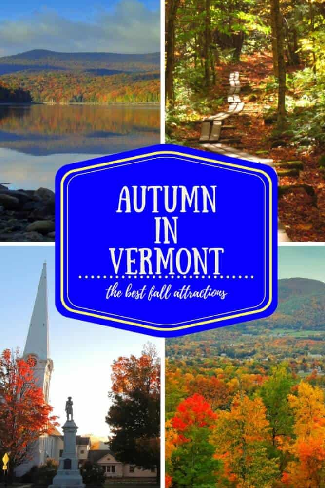 A collage of Vermont fall foliage shots.