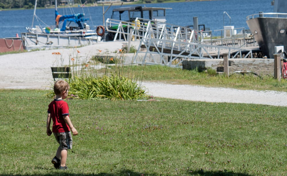 A small child watches the boats coming in and out of the Burton Island Marina.