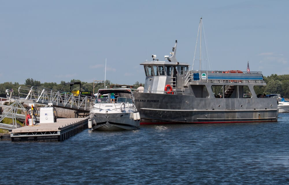 The Island Runner Ferry, which runs between Burton Island State Park and Kamp Kill Kare State Park.