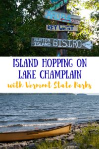 A collage of photos from Burton Island State Park. Caption reads: Island Hopping on Lake Champlain with Vermont State Parks.