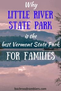 Sunrise at Little River State Park. Caption reads: Why Little River State Park is the best Vermont park for kids.