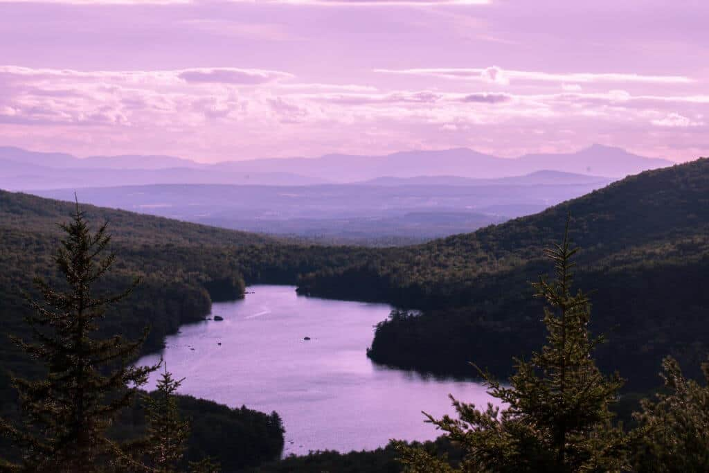 Sunset over Kettle Pond in Groton State Forest, Vermont