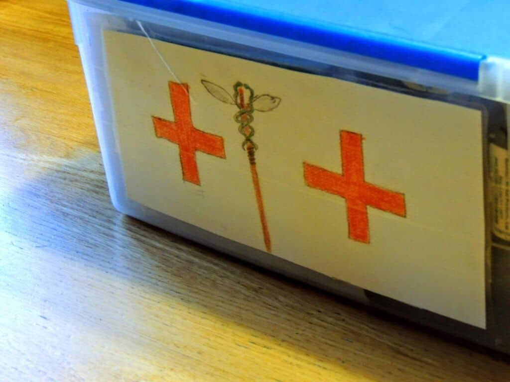 A drawing on a DIY first aid kit