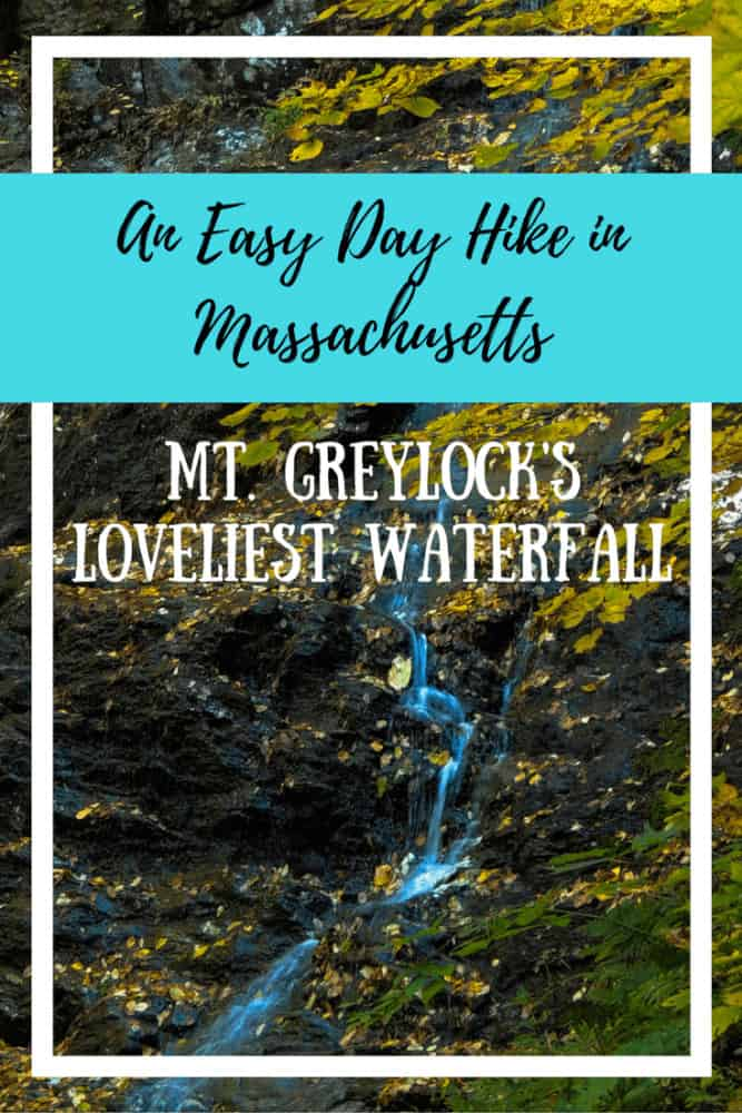 An autumn scene featuring March Cataract Falls in the Berkshires of Massachusetts. The caption reads: An Easy Day Hike In Massachusetts, Mt. Greylock's Loveliest Waterfall