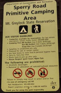 Sperry Road Campground informational sign