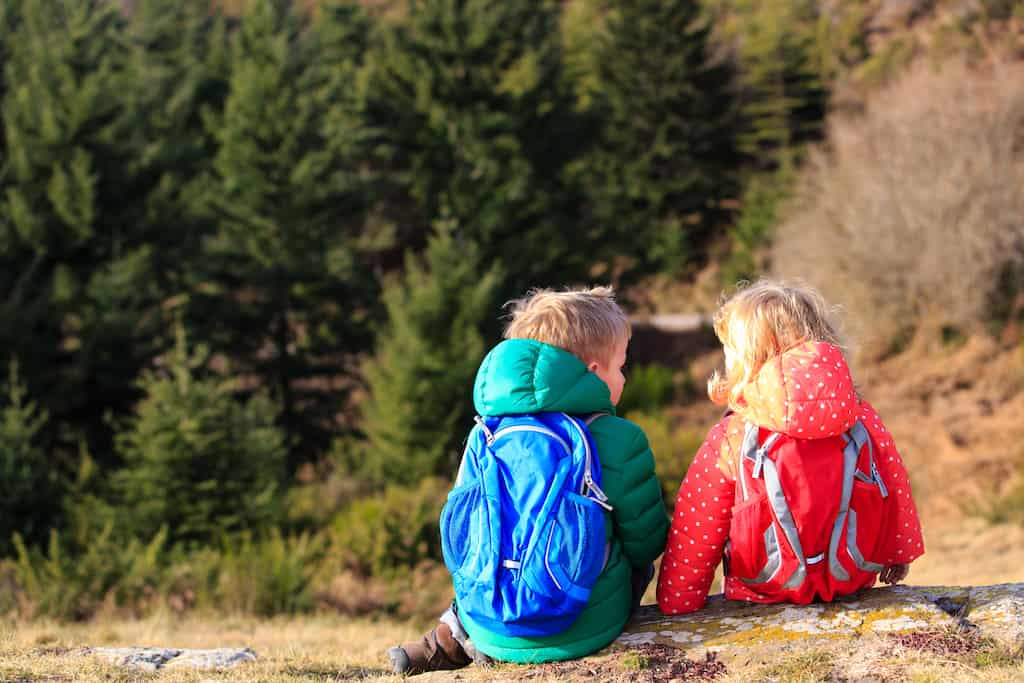Two kids sit with their backs to the camera. They are wearing colorful clothing and hiking daypacks.