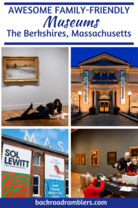 A collage of photos of museums in the Berkshires of Massachusetts