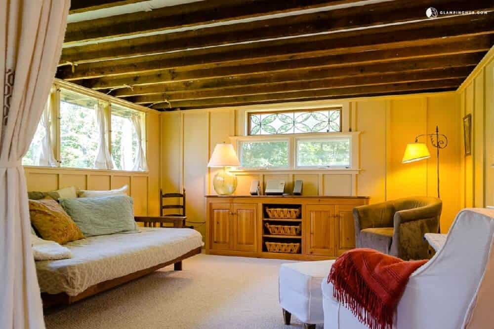 The inside of a rental cottage in Rockport, MA