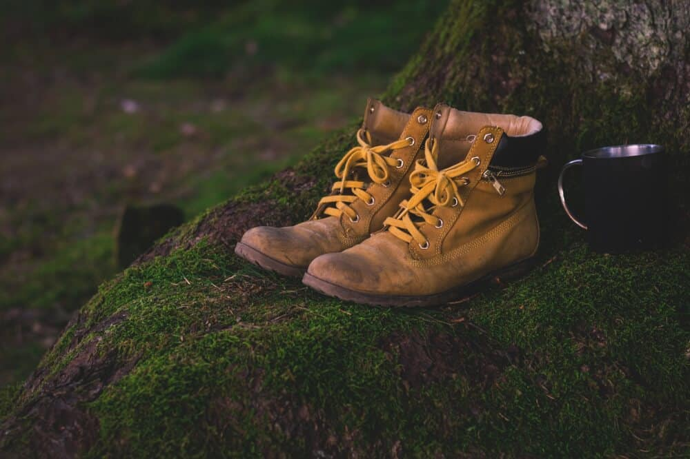 A pair of battered hiking boots on a mossy rock