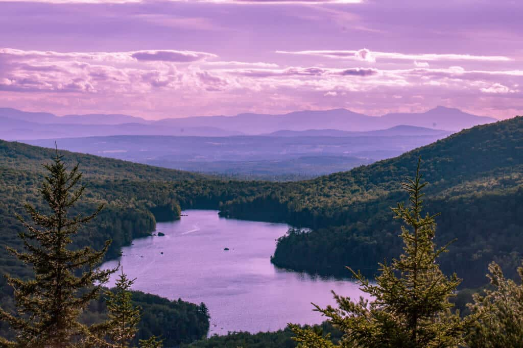 The view from Owl's Head at sunset in Groton State Forest, VT