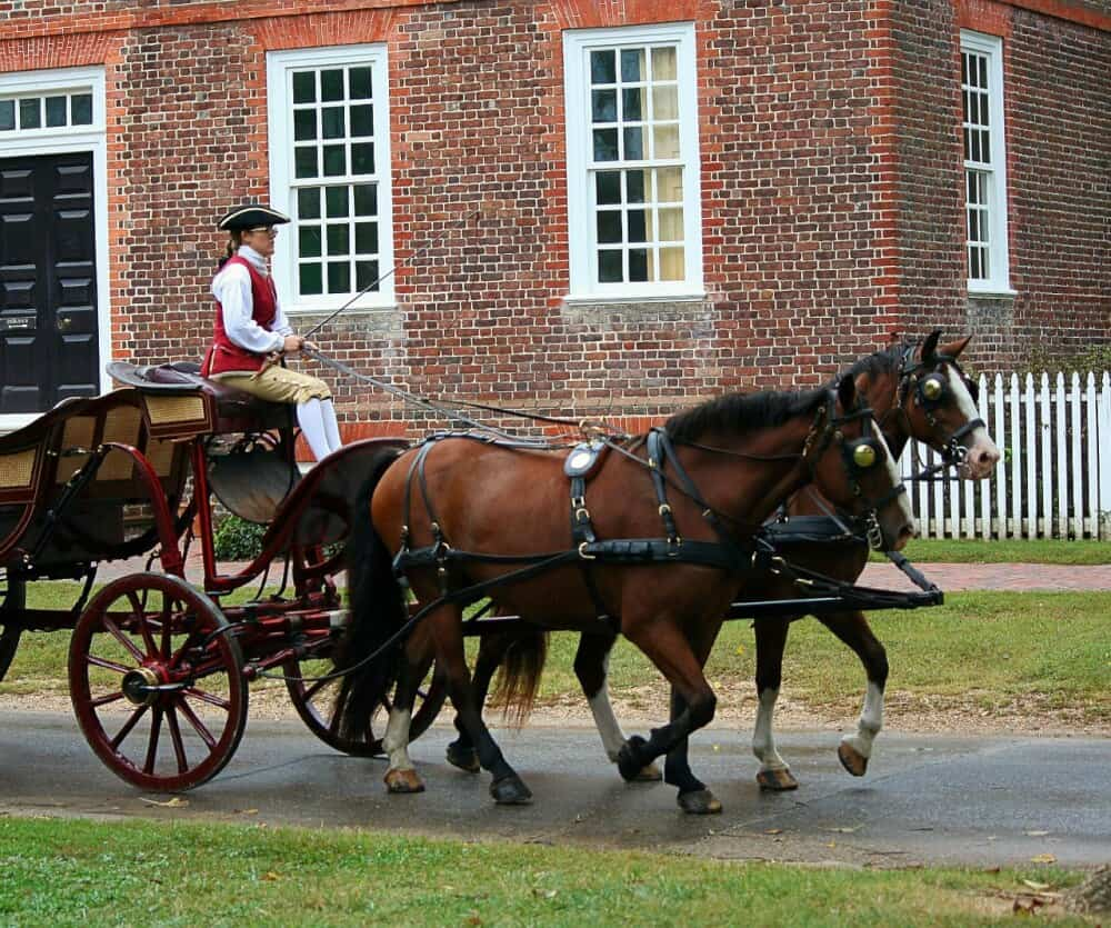 a horse-drawn carriage in Colonial Williamsburg