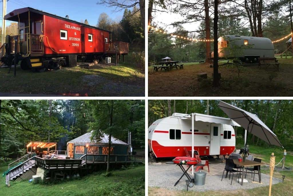 A collage of glamping photos from the Catskill Mountains