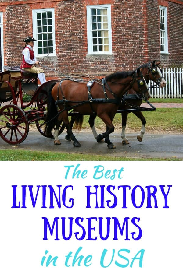 a horse and carriage drives down the street in Colonial Williamsburg. Caption: Best Living History Museums in the USA
