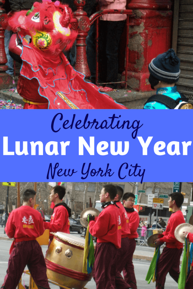 A collage of photos from Chinese New Year in Manhattan. Caption reads: Celebrating Lunar New Year in New York Cit.