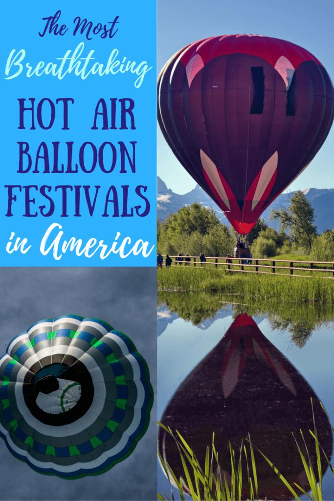 Several photos of hot air balloons.