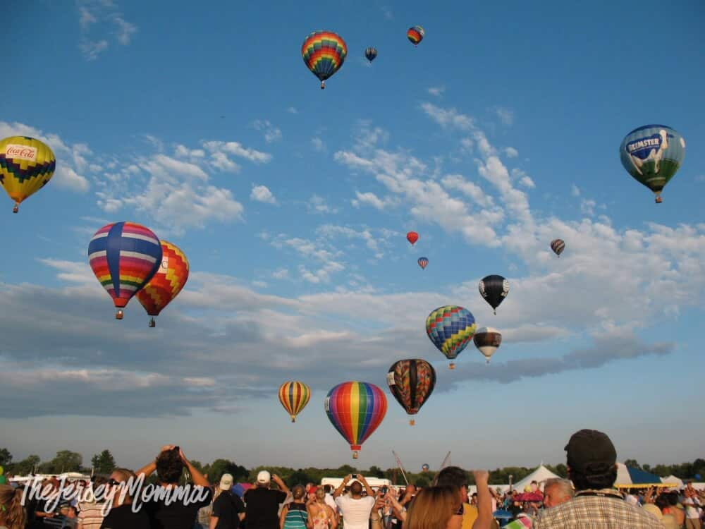 Several hot air balloons take to the sky at the Quick Check Ballooning Festival in New Jersey.